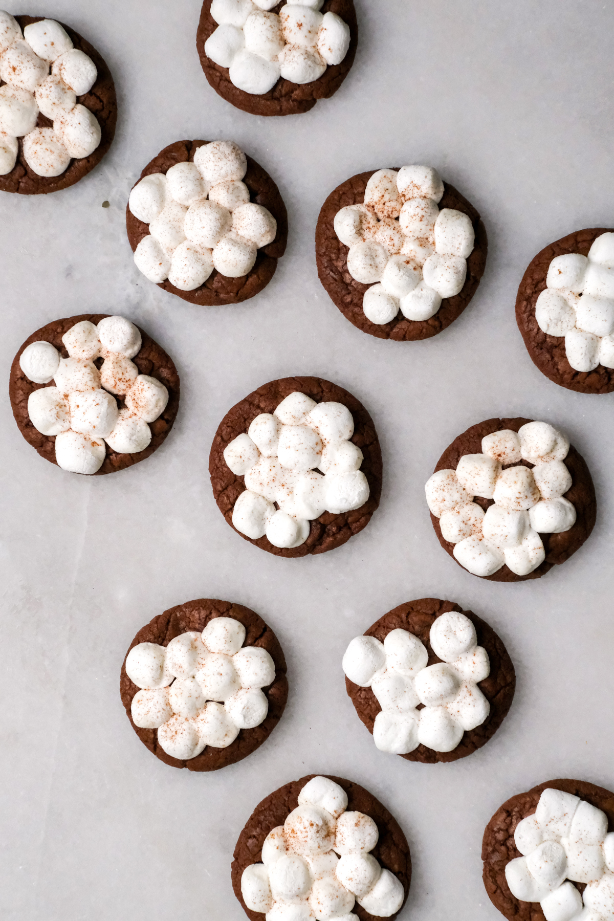 hot chocolate cookies on a marble counter