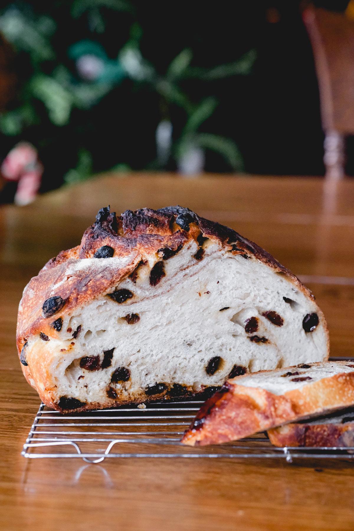 cinnamon raisin sourdough swirl bread sliced