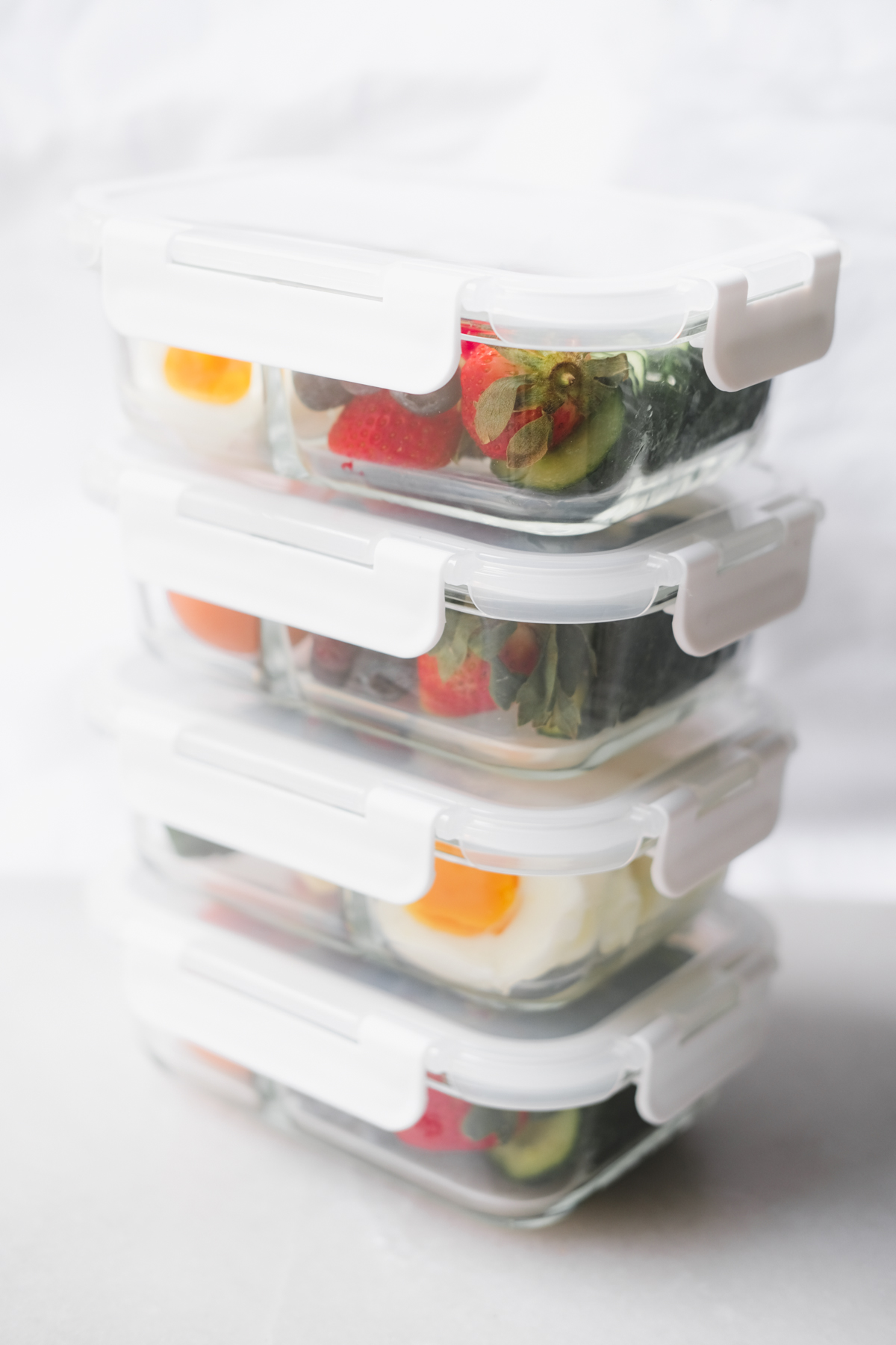amazon meal prep containers stacked on top of each other