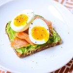 avocado toast with slices of smoked salmon and a soft boiled egg