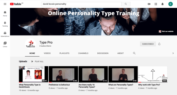 A screenshot of Type Pro's YouTube channel