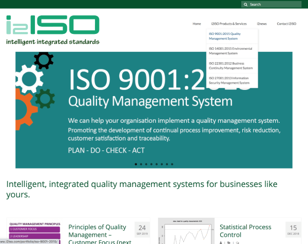 A screenshot of i2ISO's website home page