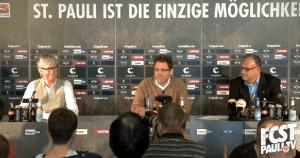 Videocapture von der Pressekonferenz. Bild: fcstpauli.tv