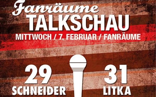 Fanräume - Talkschau - Ankündigungsflyer mit Schneider und Litka