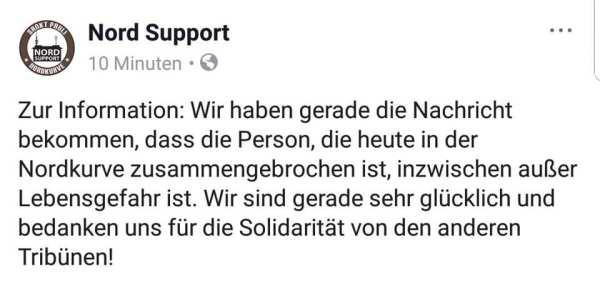 """Screenshot einer Facebookmeldung von """"Nord-Support"""" zum verletzten Fan in der Nordkurve"""