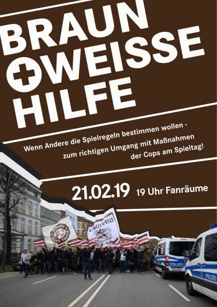 Veranstaltungsflyer, alle Infos auch im Fließtext. Foto auf dem Flyer zeigt einen Marsch von FC St. Pauli-Fans, die an mehreren Einsatzfahrzeugen der Polizei vorbei gehen