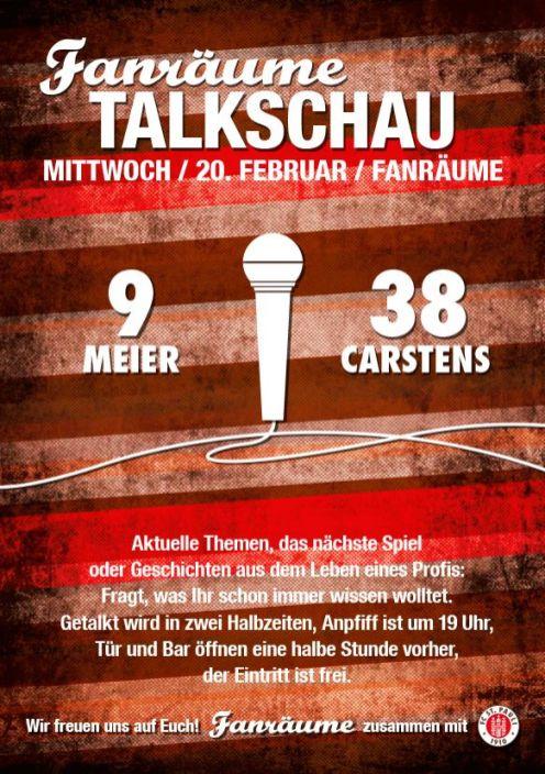 Einladungsflyer zur Fanräume - Talkschau mit #9 Alexander Meier und #38 Florian Carstens. Alle Infos auch im Fließtext.