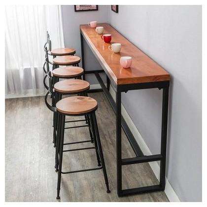 longue table de bar de mur en metal et bois plein longueur 100 cm