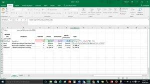 Edición de fórmulas en una hoja de cálculo
