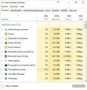 El administrador de tareas de Windows muestra los procesos en ejecución así como los recursos que utiliza.