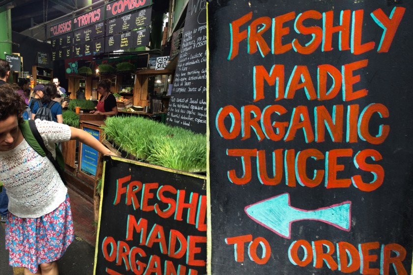 Freshly organic made juices en Borough Market.