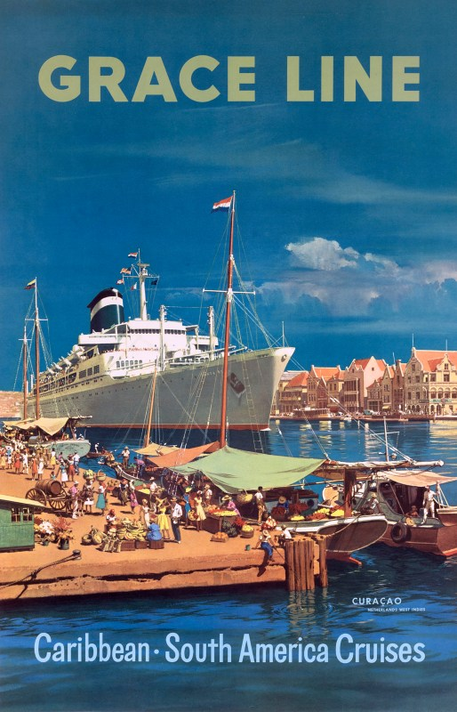 Cruise ship in port in Curacao