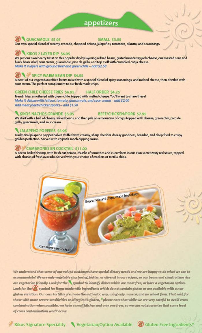 Kikos Authentic Mexican, Brighton Colorado, appetizer menu