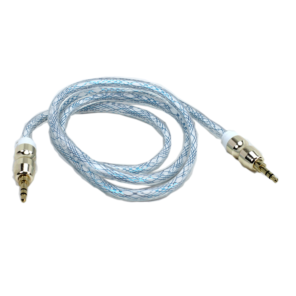 hight resolution of wholesale auxiliary music cable 3 5mm to 3 5mm heavy duty braided wire blue