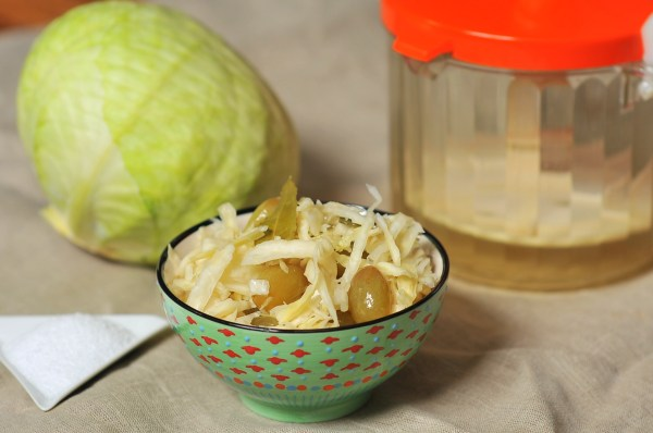 Russian Style Sauerkraut with Grapes and Bay Leaves