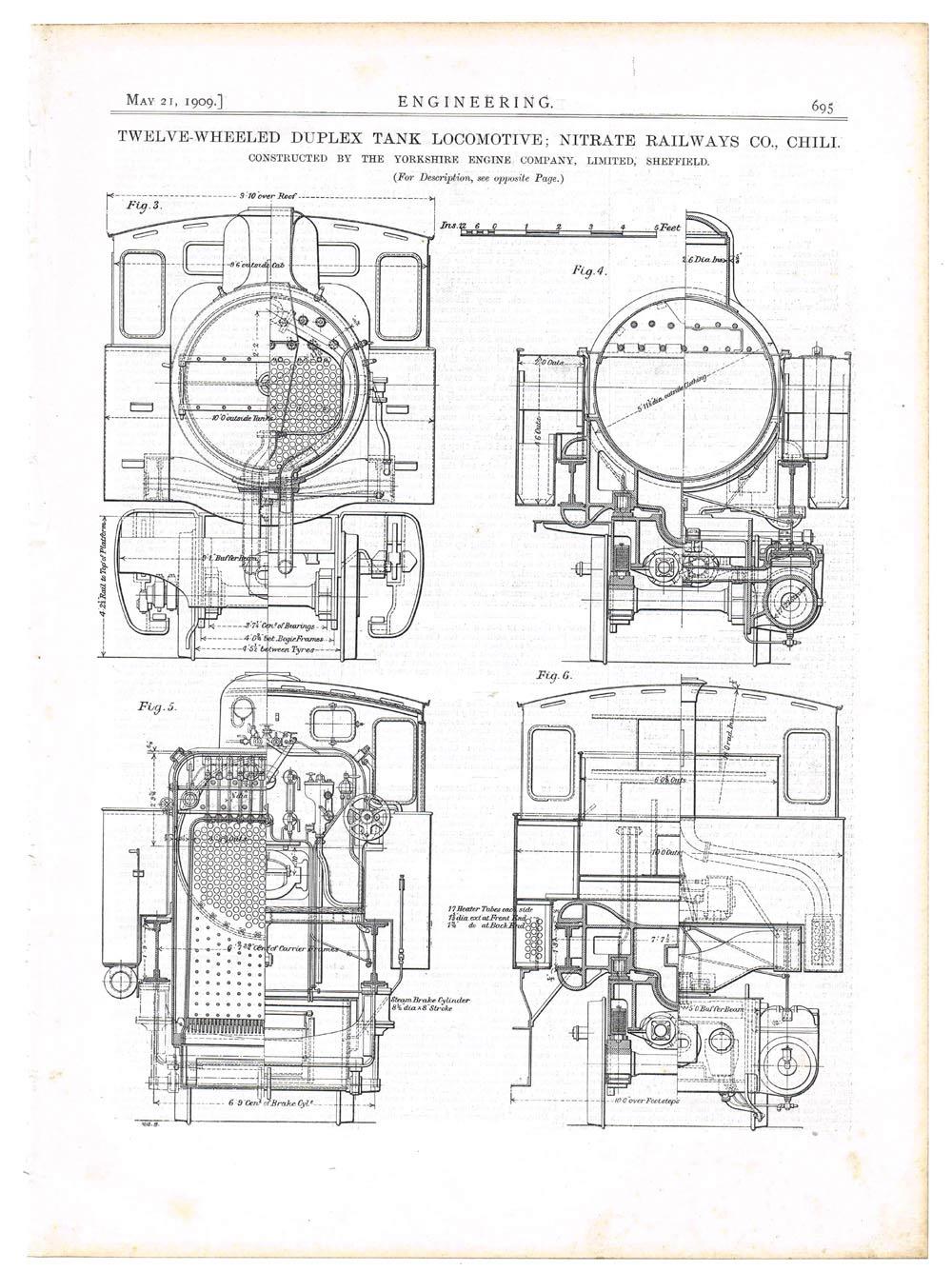 1909 Engineering Antique Print-12 Wheeled Duplex Tank