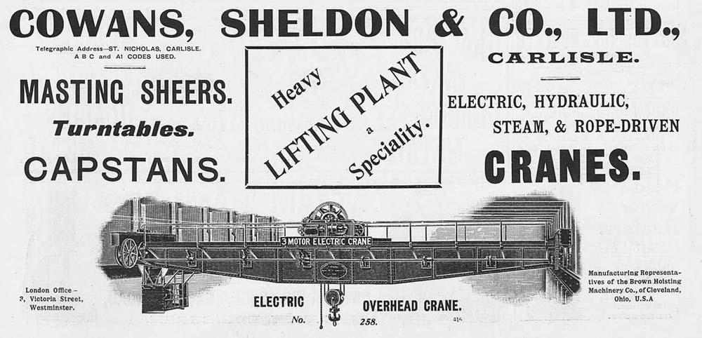 COWANS SHELDON & CO Carlisle; Electric Overhead Cranes-Old