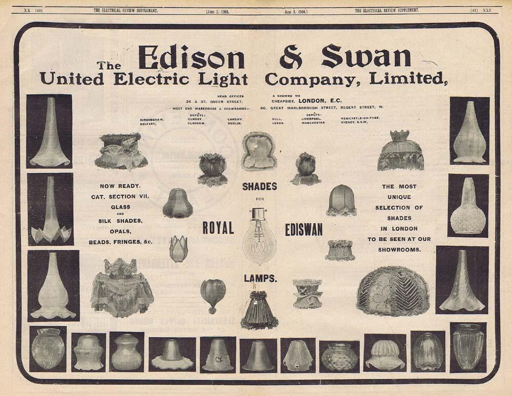 EDISON  SWAN ELECTRIC LIGHT CO Ediswan Lamp Shades