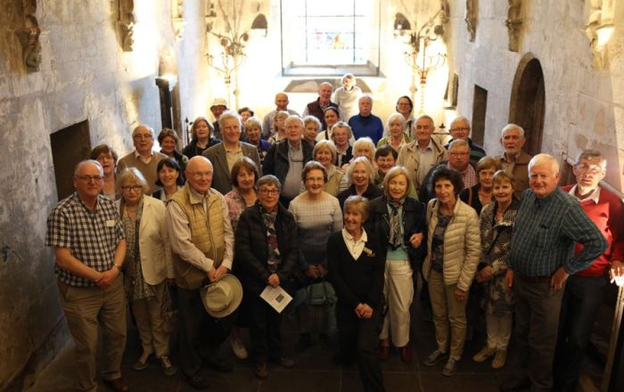 Group Photograph taken in the crypt of Rosslyn Chapel with the guide