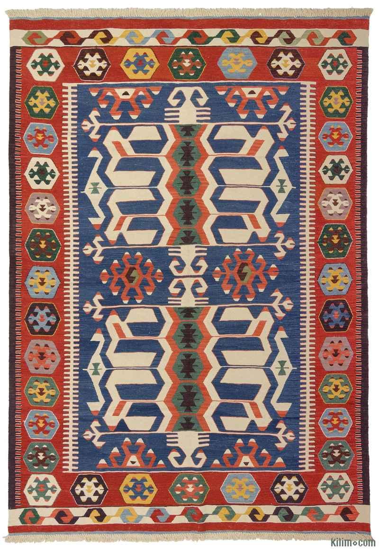 K0008653 Blue New Turkish Kilim Rug