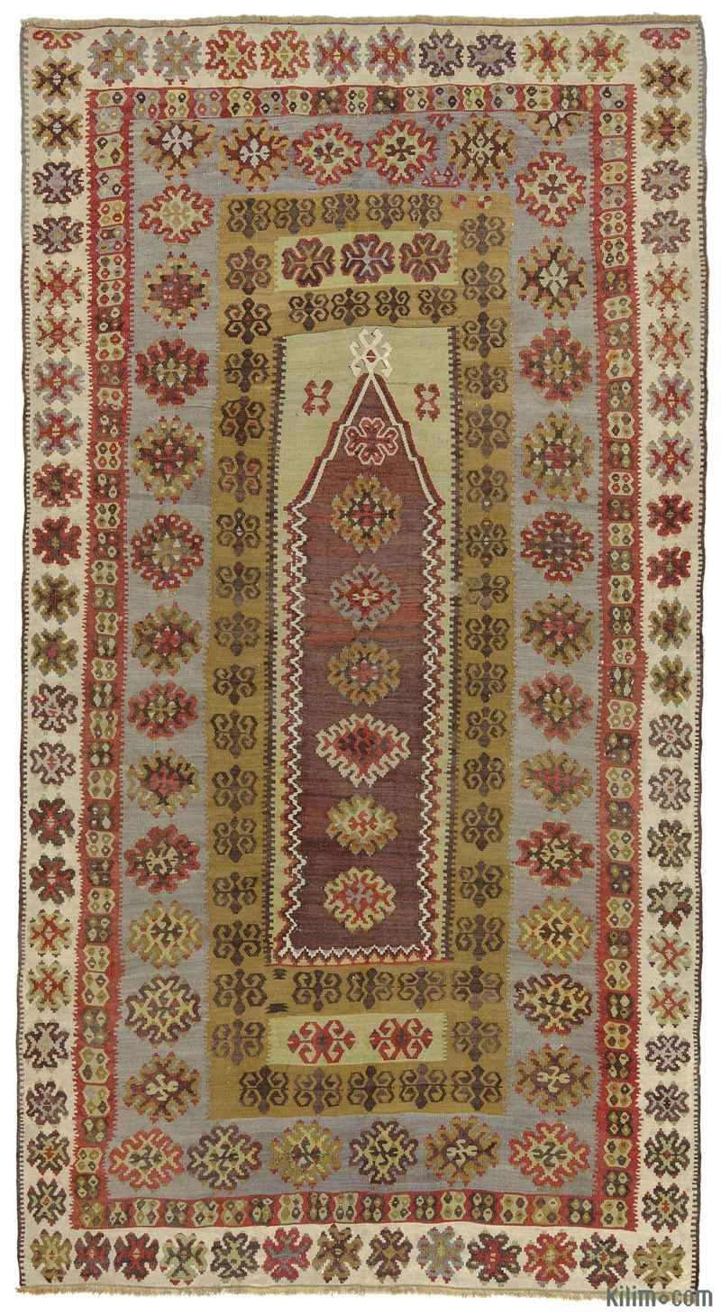 K0010263 Purple Green Antique Yahyali Kilim Rug