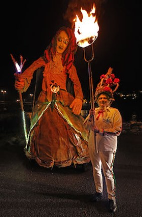 Eileen O'Sullivan from the KIlgobnet Biddies with the effigy of the Biddy