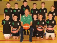Pete Strickland with a group of young players from Rathmore at the basketball coaching clinic
