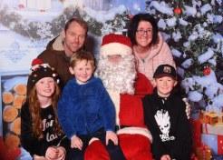 Nicky, Eileen, Mikey, Grace and Jerry Kelly with Santa