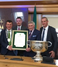 Making the presentation were, from left, Mayor of Kerry, Cllr John Sheahan, Kerry County Board Chairman Tim Murphy, the great Mick O'Dwyer and Cllr Mike Kennelly. The special guest was Sam Maguire