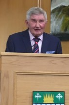 The man himself addresses the gathering in County Buildings
