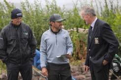 Then the rain came in: Jack Buckley, President, Killarney Golf and Fishing Club (right) with Rory Matthews, Fáilte Ireland, and Judd Spicer, ESPN Radio