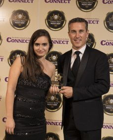 Dominika Bednarz, Lake Hotel, receives the Best Fine Dining Award for the Castlelough Restaurant, from Padraig McGillycuddy