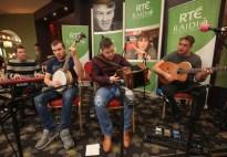 Killarney musician Morgan Pearse, Gearóid Curtin, David Healy and Seán Ó Laoithe performing with Bláthnaid Ní Chofaigh and Pádraig Ó Sé