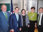 At launch of the Ireland-US Business Review in Ireland House were, fro left,J ohn Griffin, Tourism Officer, Kerry County Council,Martin Shanahan, CEO, IDA Ireland, Moira Murrell, CEO, Kerry County Council, Mayor of Kerry Cllr.Norma Foley, and Ciaran Madden, Consul General of Ireland, New York