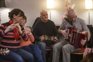 Musicians enjoying an impromptu session at The Gathering