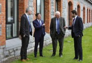 Pointing the way forward: Minister for Finance, Public Expenditure and Reform, Paschal Donohoe with Fexco CEO Denis McCarthy, left, Fexco, founder Brian McCarthy and Minister of State Brendan Griffin