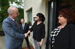 Gina O'Connor, Clinical Nurse Manager and Mary Lyons, Assistant Director of Nursing welcome Minister Jim Daly welcomed to Leawood House on Countess Road