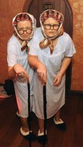 Overall winners Alanna Lyne and Naomi Farrell as The Biddies