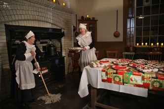 Servants' quarters: Patricia McSherry and Ger Madden getting ready for the Victorian Christmas