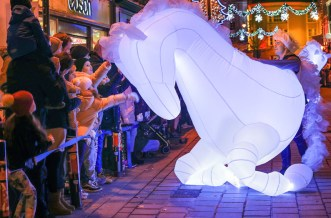 Magical: Kieran McCarthy steers O'Donoghue's mythical white horse through the streets