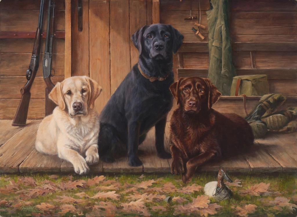 """Break Time"" - Labrador Retrievers - Original Acrylic Painting by Jim Killen"