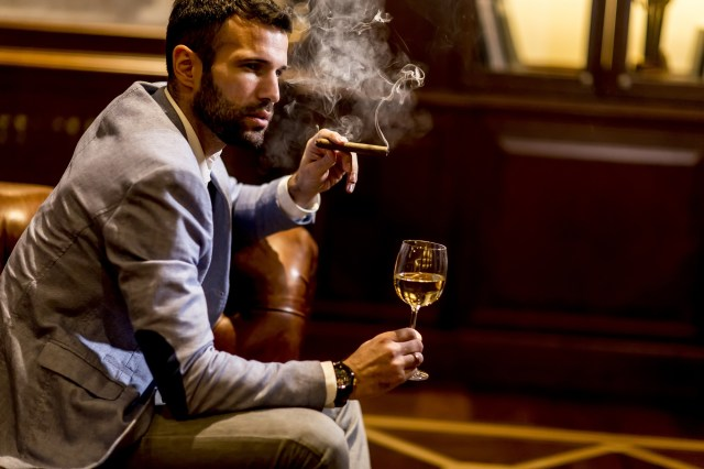 wine with smoke