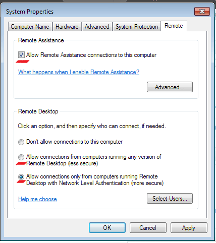 Enabling Remote Desktop Connection in Windows 7