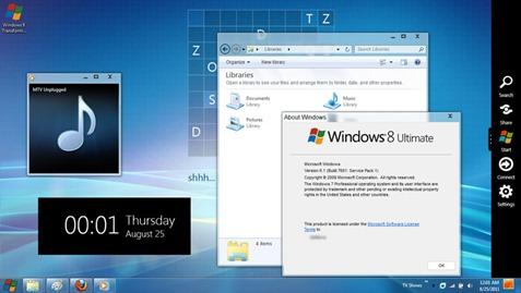 New Widgets and the sidebar Windows 8 ট্রান্সপরমার প্যাক ও Angry Birds থিম