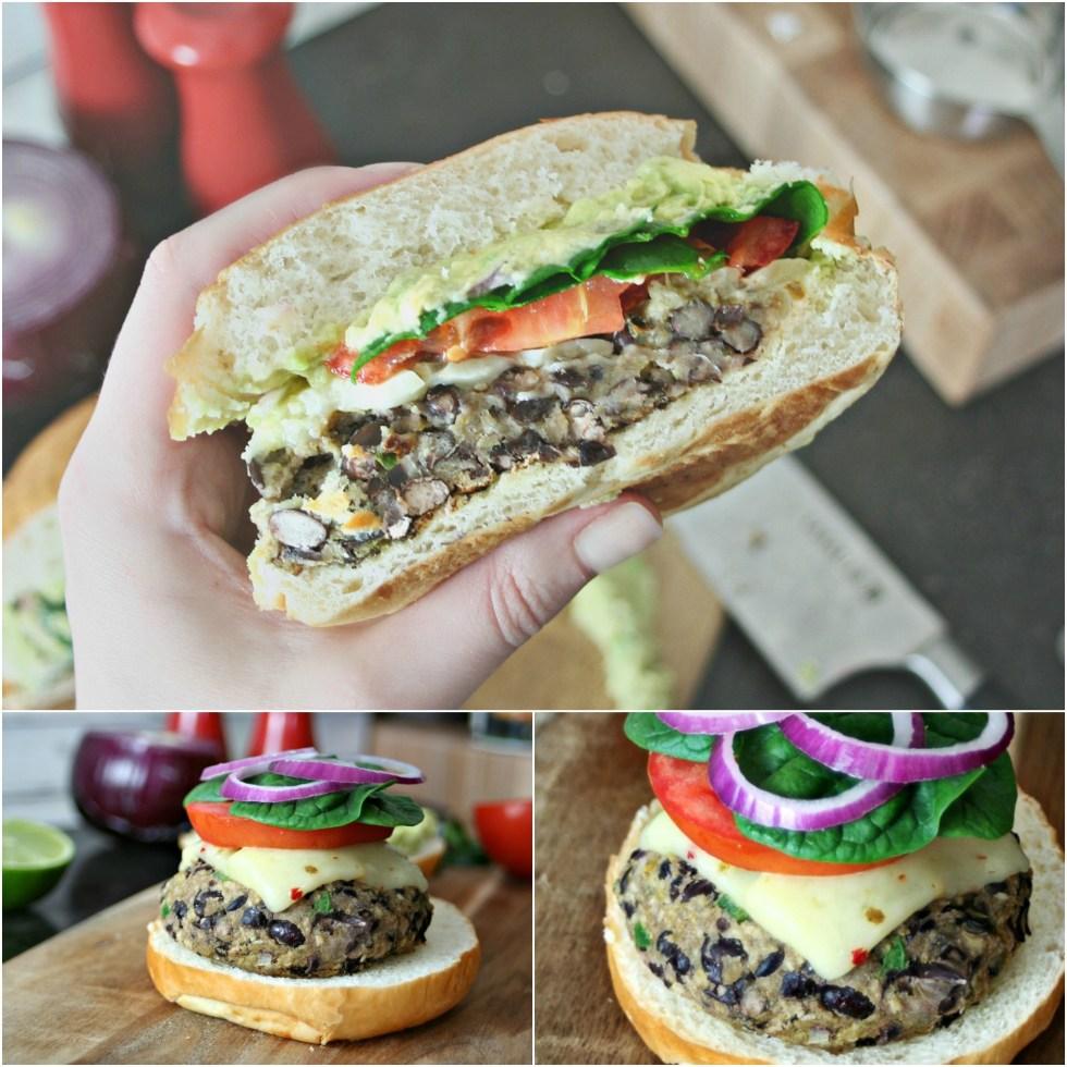 Black Bean Burger Collage