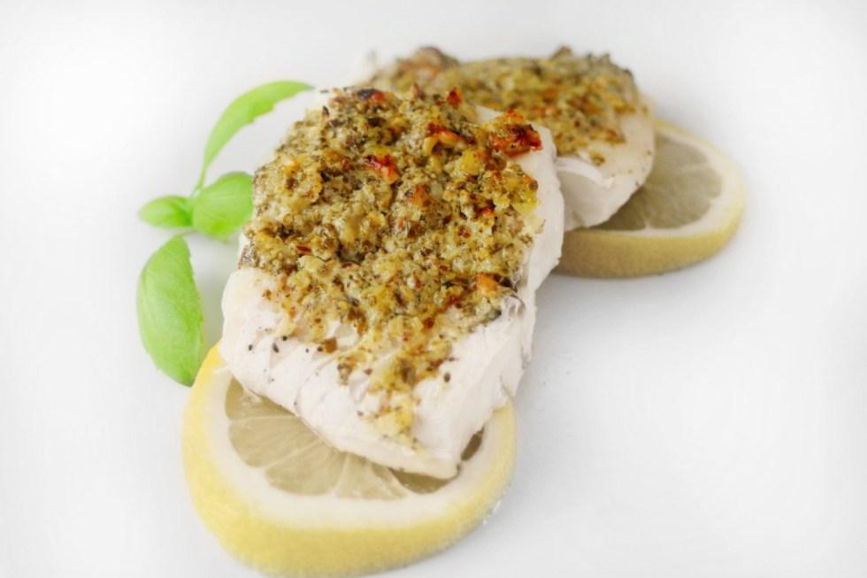 Pesto and Walnut Crusted Cod