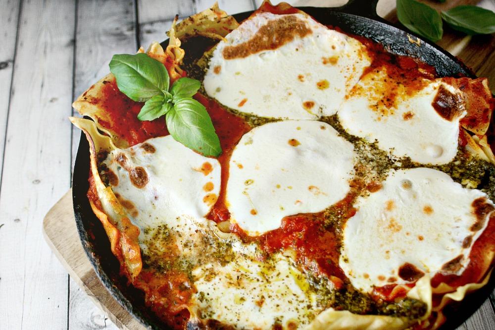 Quick Pesto and Tomato Skillet Lasagna 3