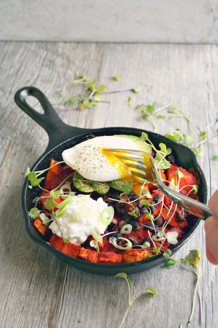 Sweet Potato Brunch Skillet with Poached Egg