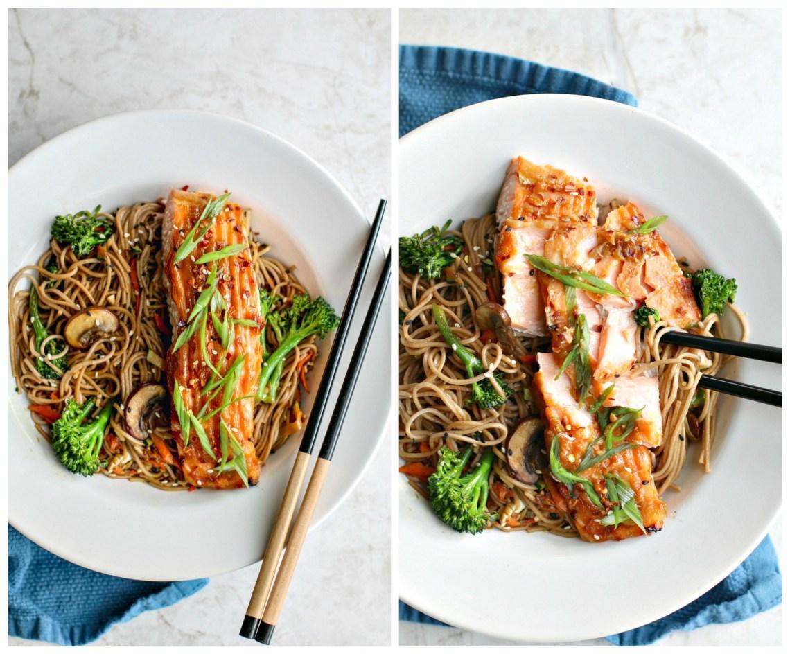 Miso Glazed Salmon With Sesame Soba Noodles   Killing Thyme