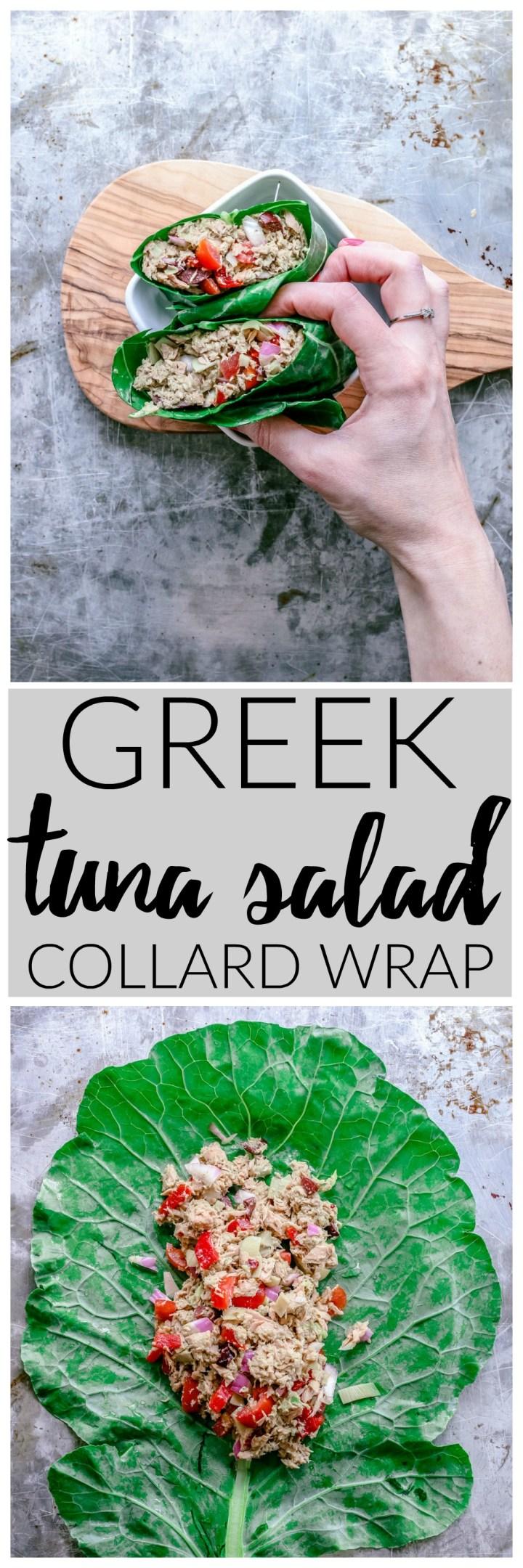 Greek Tuna Salad Collard Wrap | Killing Thyme